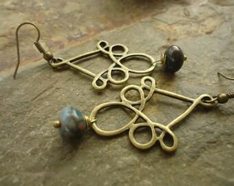 ORNATE & STONE EARRINGS bronze vintage (619)