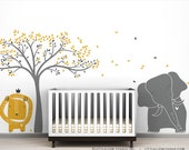 Baby Lion, Elephant and Tree Wall Sticker Mural Modern Baby Zoo Wall Decal by LittleLion Studio