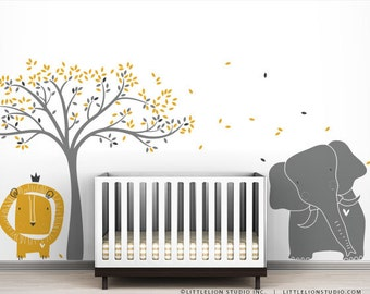 Baby Lion, Elephant And Tree Wall Sticker Mural Modern Baby Zoo Wall Decal  By LittleLion Part 70