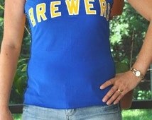 Milwaukee Brewers baseball  gold blue strapless UPCYCLED Cotton T Shirt top S - M