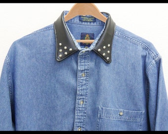Denim Shirt with Studs and Black Faux Leather Collar : Long Sleeves, Button Up