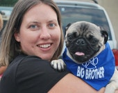 Big Brother or Big Sister with Paw Print Embroidered Dog Bandana--can also do for little brothers or little sisters
