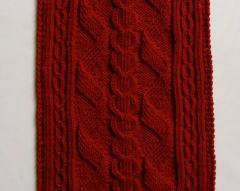 Knit Scarf Pattern:  Alpine Cabled Turtleneck Scarf
