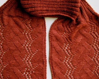 Knit Scarf Pattern:  Climbing Vines Turtleneck Scarf Knitting Pattern