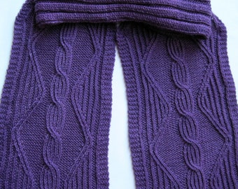 Knit Scarf Pattern:  Twisted Cable Turtleneck Scarf Knitting Pattern