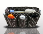 Handmade Bag and Purse Organizer Insert Holiday Gift / Brown With White Dots / Large 25x10cm