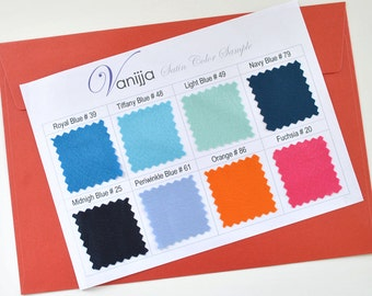 Satin Swatch Sheet..Pick 8 colors