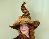 wizard or witch hat-LAUREL - Golden Batik Pumpkin Magic - Halloween, size M