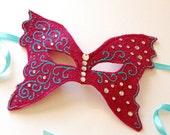 MASK- Raspberry Butterfly - Halloween, Fairy, Mardi Gras, venetian or masquerade