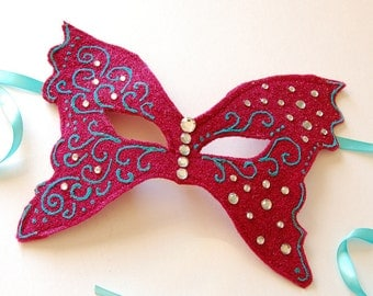 MASK- Raspberry Butterfly - Halloween, Fairy, Mardi Gras, venetian or masquerade