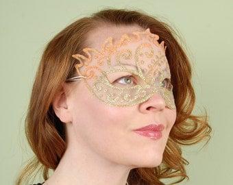 SHEER MASK- Golden Orange- Halloween, Fairy, Mardi Gras,Venetian, masquerade, tattoo
