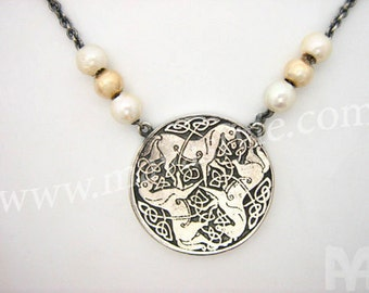 Sterling Silver & Gold Celtic Knot and Horse Necklace