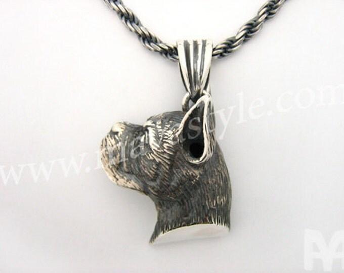 Sterling Silver Boxer Dog Pendant