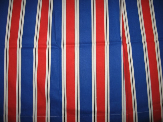 Set of 3 super circus stripe curtains canvas nautical big top tall drapes barkcloth red white blue