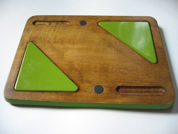 Excellent retro hostess server enamel tiles woodenware tray lime green Sears Warner 70s