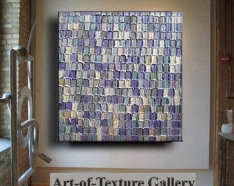 Abstract Painting Large Heavy Texture Silver Purple Pearl White Ivory Impasto Carved Modern Oil Painting by Je Hlobik