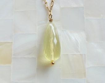 Faceted Lemon Quartz Elongated Briolette on Gold Chain Necklace