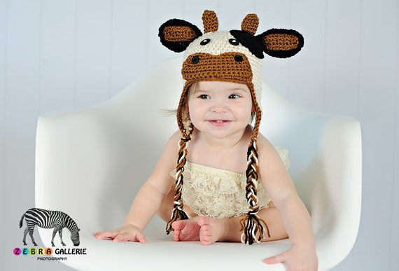 Cow Hat Moo Crochet, Earflaps, Cream Rust Black Button Eyes Baby, Toddler, Child, Teen Adult