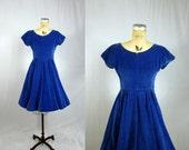 50s Party Dress / Blue Velvet Full Skirt Party Formal /  Small Medium