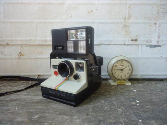 Vintage Polaroid Camera with Flash Attachment - One-Step Land Camera