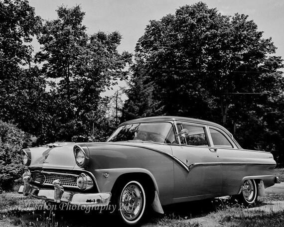 Classic Ford Fairlane original black and white print
