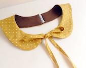 peterpan collar - ultra slim with long ribbons - mustard polka dots