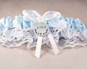 Wedding Garter Bridal Garter Something Blue Garter Personalized Garter Hand Stamped Garter Bride Groom Wedding Date Garter Belt