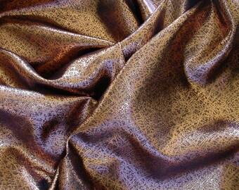 Metallic Copper on Black Chiffon  1 Yard   (SM223)
