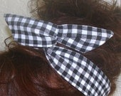 Dolly Bow, Black Gingham Checked Flexible Wire Headband Rockabilly Pin up