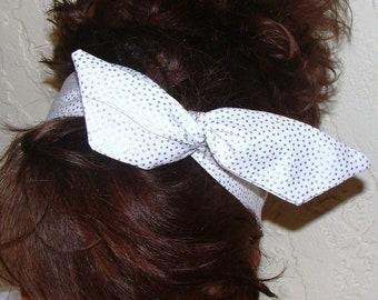 Dolly Bow, Wire Headband, Hair Bow, Metallic Silver Dolly Bow, White with Silver Dots Wire Headband  Teen Woman