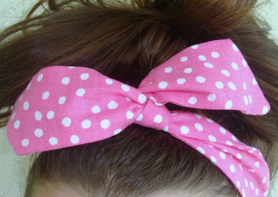 Dolly Bow, Deep Pink with White Polka Dots Wire Headband Rockabilly Pinup 50s