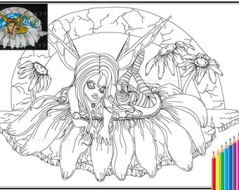 Bumblina Queen of the Bees Printable Digital Download PDF Coloring Page