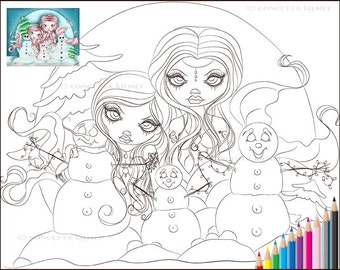 Mermaid Coloring Page - Adult Coloring Page - Mermaid Digi - Mermaid Download - Mermaid Stamp - Coloring Page Download - Christmas Coloring