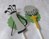 Golf Cupcake Toppers - Golf Theme Party Decor - 1st Birthday Decor - Retirement Party Decor