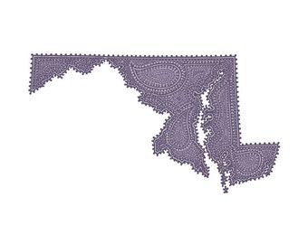 "Maryland State Purple Paisley Print - 10""x8"" Fine Art Print on Watercolor Paper"