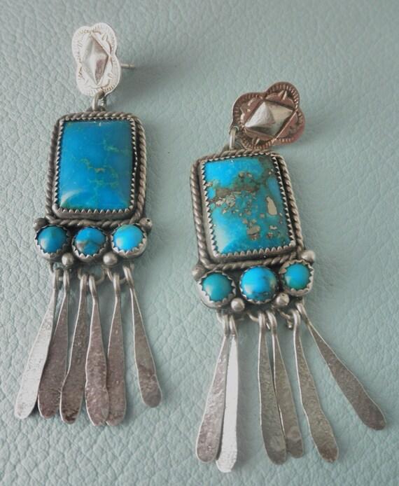Vintage Sterling Silver Southwestern Dangle Earrings