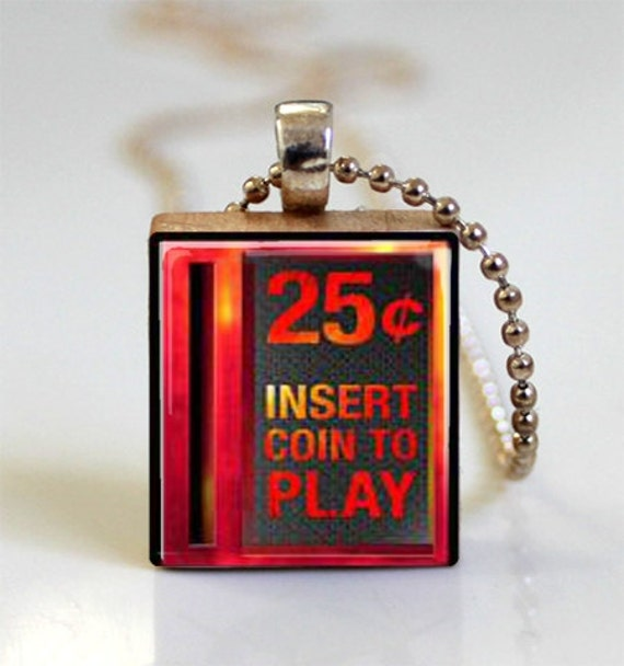 Video Game Jewelry Insert Coin To Play Scrabble Tile Pendant