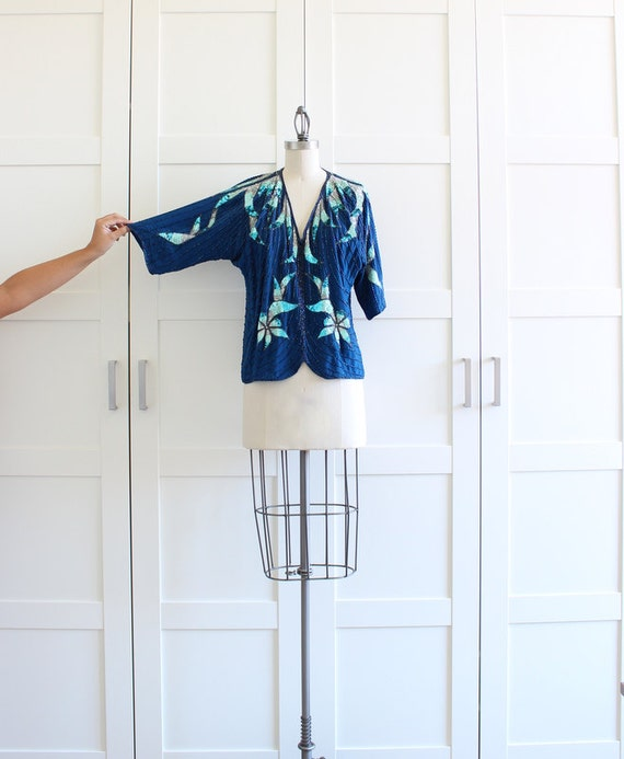 Vintage Sequin Top, Navy Blue Beaded Sequin Blouse Oversized Tee, size Medium Large