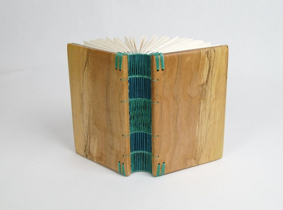 unique handmade journal - spalted maple  wedding  gift - wood guest book- rustic woodland garden natura teal l- ready to ship