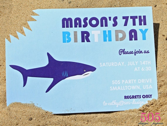 Shark Party Invitations could be nice ideas for your invitation template
