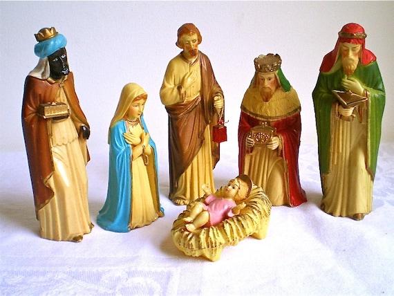 Christmas, Nativity, Vintage, Decoration, Home Decor, Mary, Joseph, Jesus, 3 Kings, Kitch, Hong Kong, Set of 6