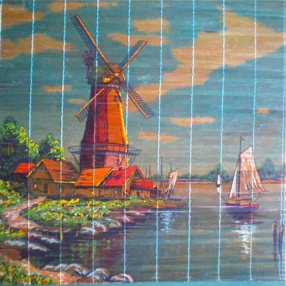 "Windmills, Holland, Vintage Advertising, Wall Hanging, Dutch, Home Decor, Scroll, Calendar, 1960's, Retro, Wooden, Large 20 1/2"" x 12"""
