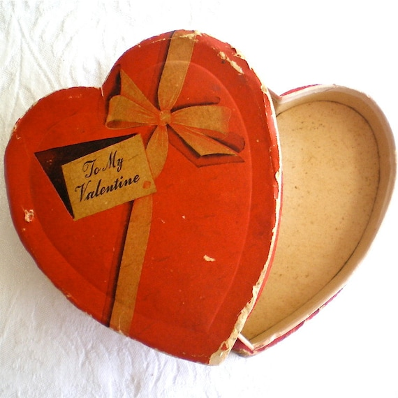Candy Container,  Vintage, Valentine, Box, Heart, Red, Romantic,  1940s, 1950s