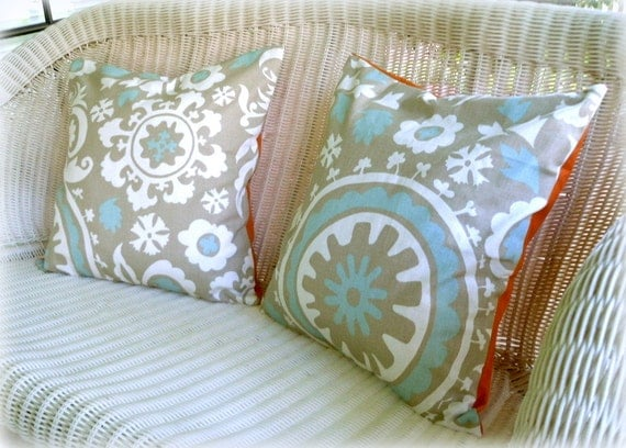 Pillow Cover in Gray, Blue, and Orange, 18x18