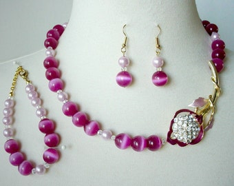Fuschia Statement Necklace, Asymmetrical, 3 Piece Set, Mother Of Bride/Groom, Repurposed Flower Brooch, Cocktail/Prom Necklace