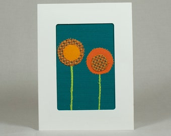 Quilt Greeting Card - Fabric Card - Orange Flowers - Tangerine Tango and Ultramarine Green - Orange and Teal