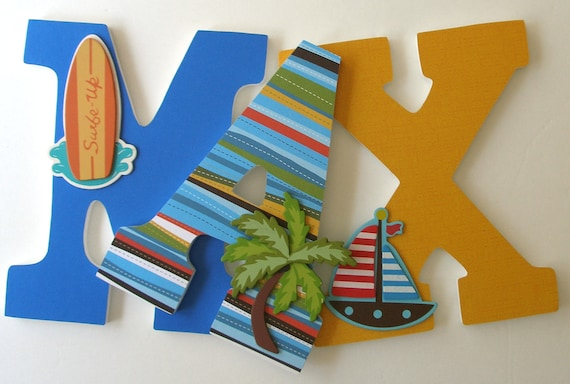 Surfer Custom Decorated Wooden Letters, Personalized Nursery Name Décor, Unisex Bedroom, Hanging Wood Wall Decorations, Baby Shower Gift