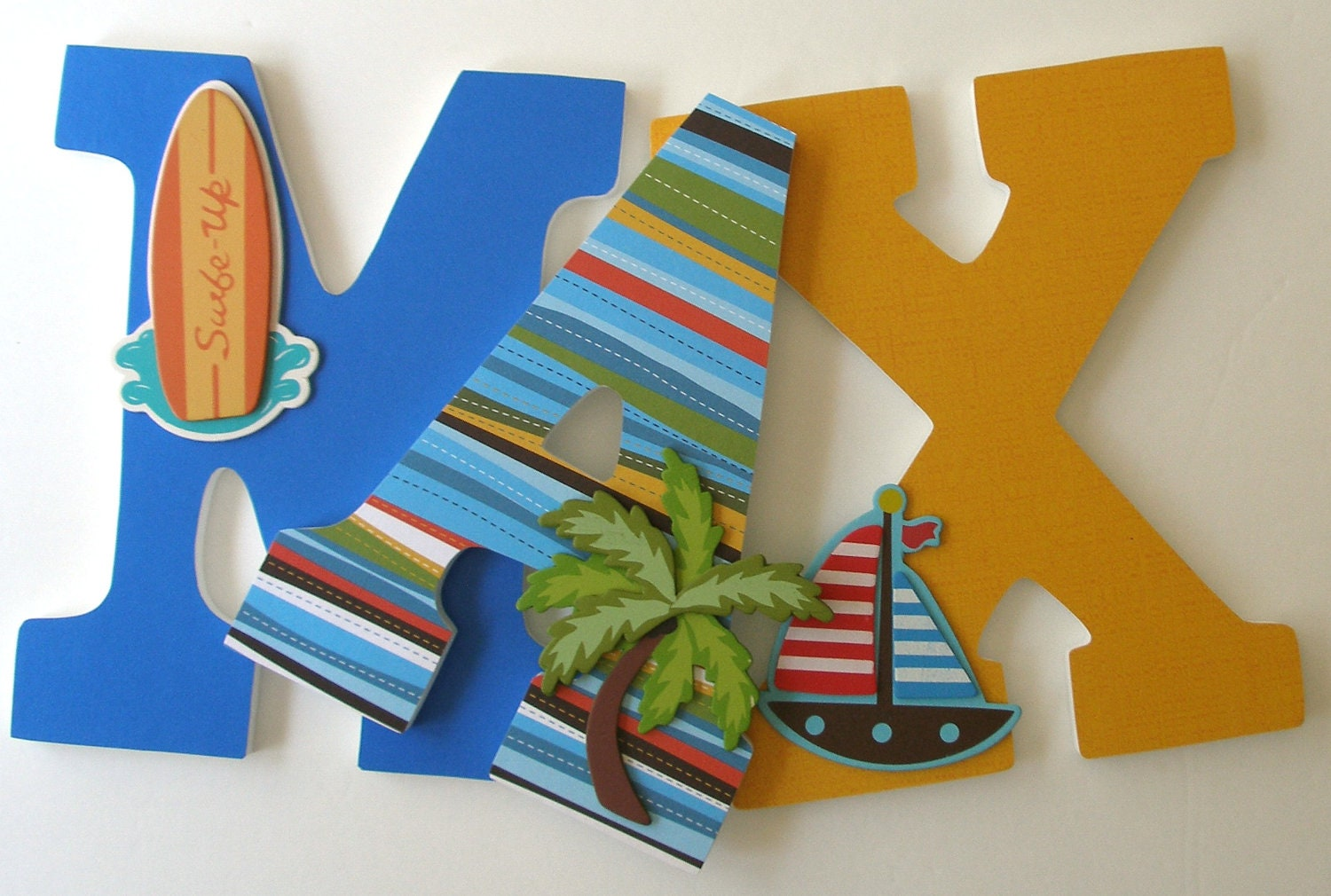 surfer custom decorated wooden letters personalized nursery