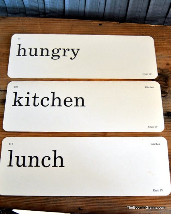 Vintage Classroom Word Flash Cards  - Hungry  Kitchen   Lunch