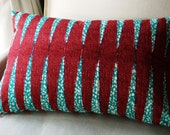 SALE Pillow Cushion Blue & Pink African Wax Print Deluxe cover - 16 x 24 inches - SISTERBATIK